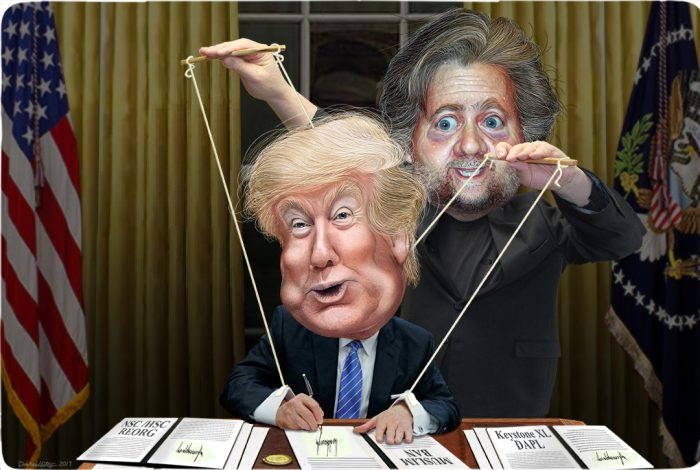 Donald Trump, Steve Bannon, puppet