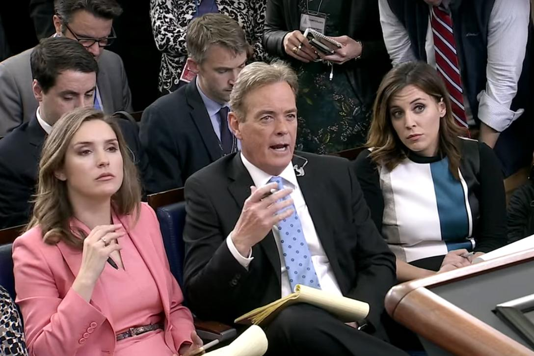 John Roberts of Fox News asks a question at White House press briefing.