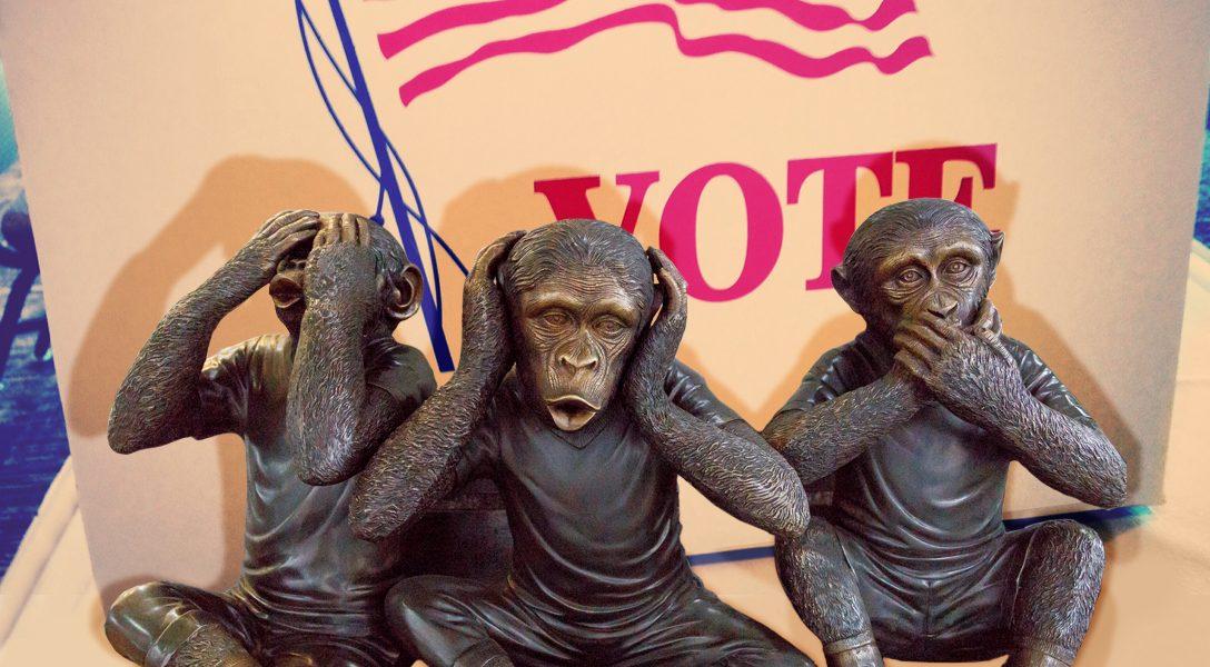 election, voting, hear, see, speak, no evil