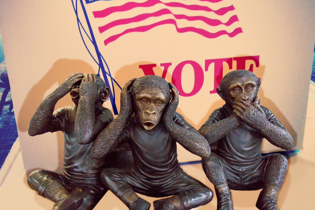 election, voting, hear, see, speak, no evil