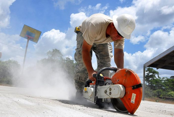 crystalline silica, concrete, cutting, dust