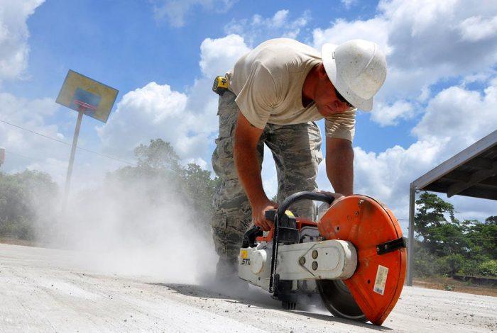 crystalline silica, concrete, cutting, dust
