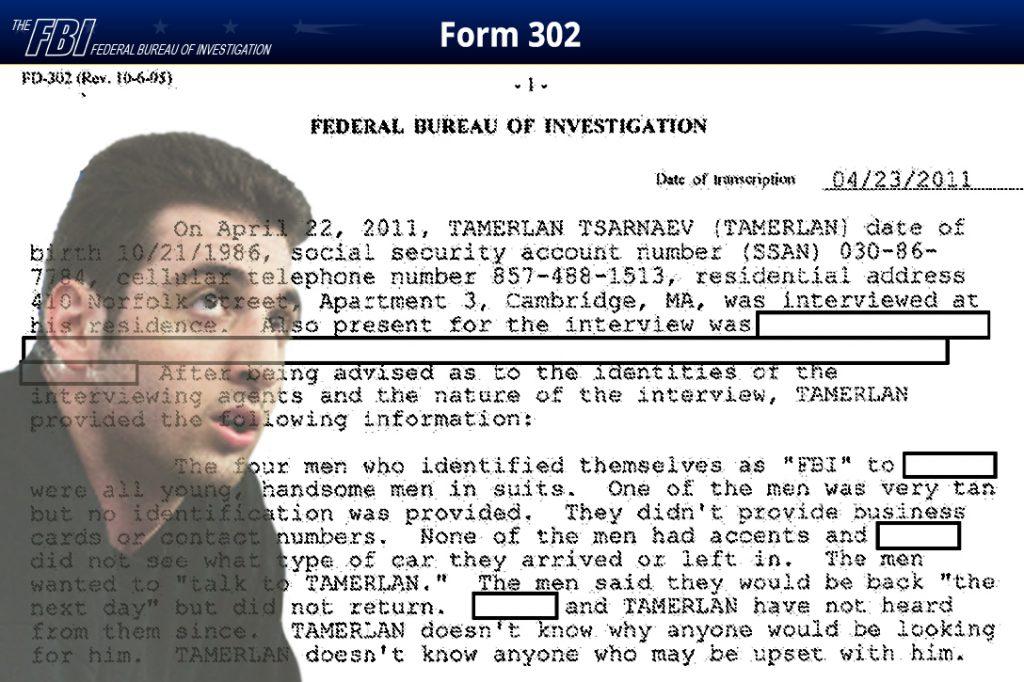 FBI, 302, Tamerlan Tsarnaev