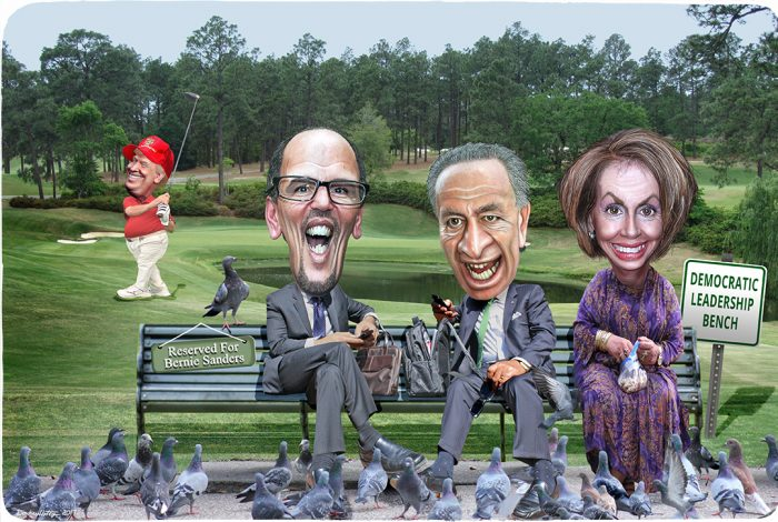 Donald Trump, Tom Perez, Chuck Schumer, Nancy Pelosi