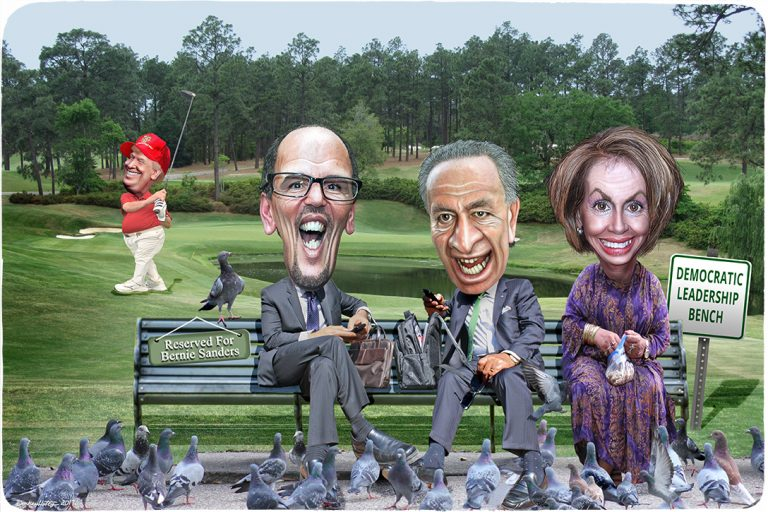 Donald Trump, Tom Perez, Chuck Schumer, Nancy Pelosi