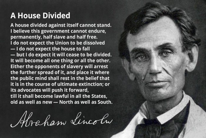 "an analysis of house divided by abraham lincoln ""a house divided against itself cannot stand"" –abraham lincoln pain killercheck anti-inflammatorycheck anti-anxietycheck antidepressantcheck."