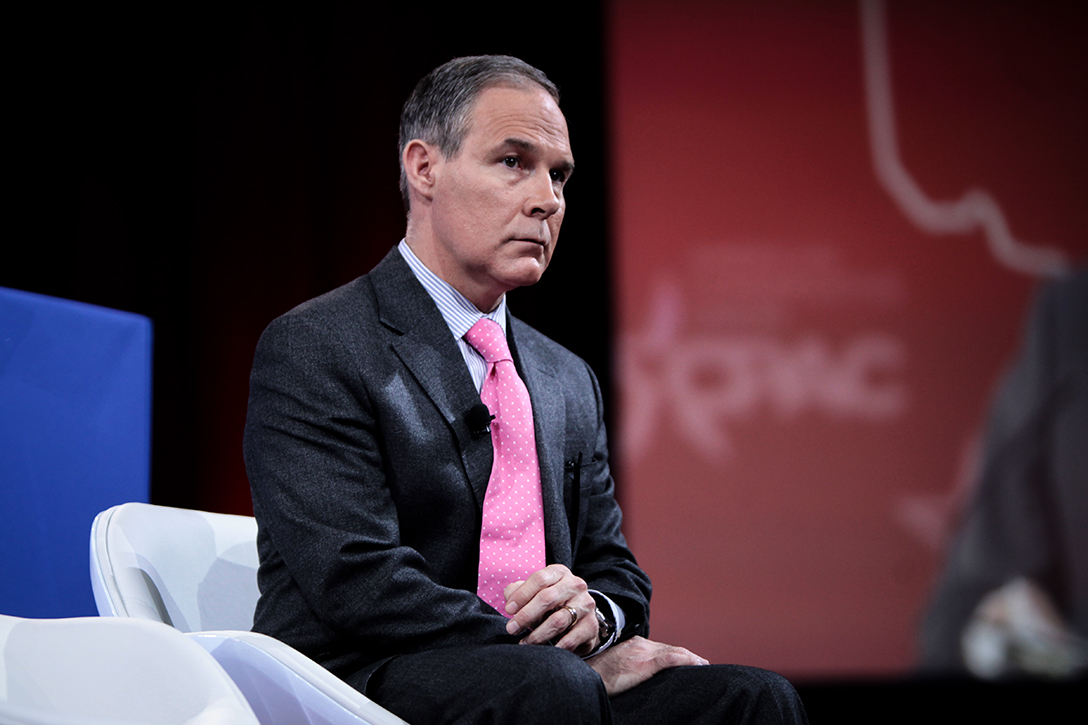 : Scott Pruitt, formerly Oklahoma Attorney General, spoke at the Conservative Political Action Conference in 2015. During his tenure, he lobbed several lawsuits against the EPA.
