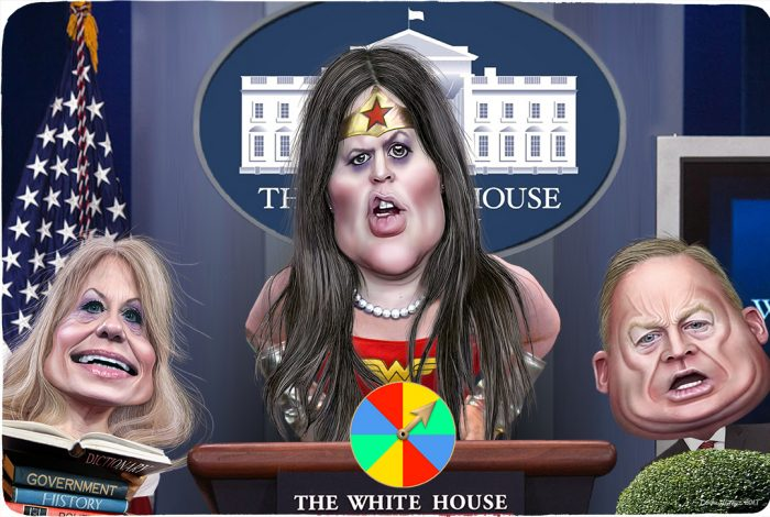 Sarah Huckabee Sanders, Kellyanne Conway, Sean Spicer