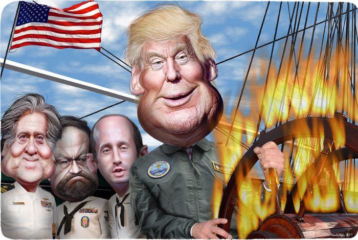 Donald Trump, Steve Bannon, Sebastian Gorka, Stephen Miller