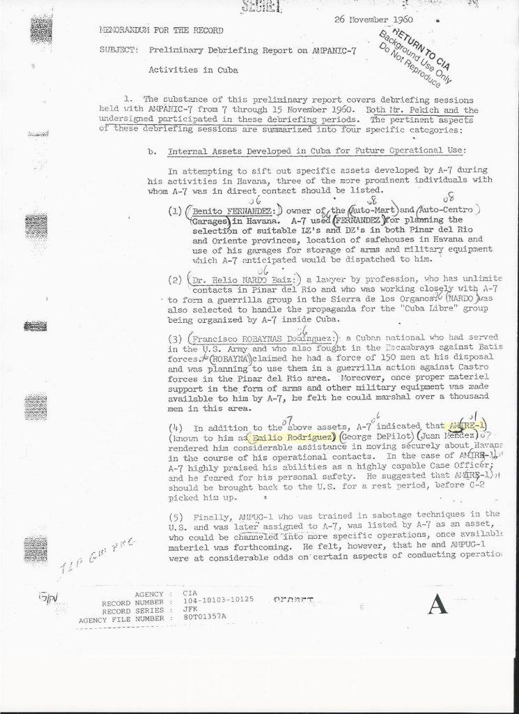 CIA, Debriefing report