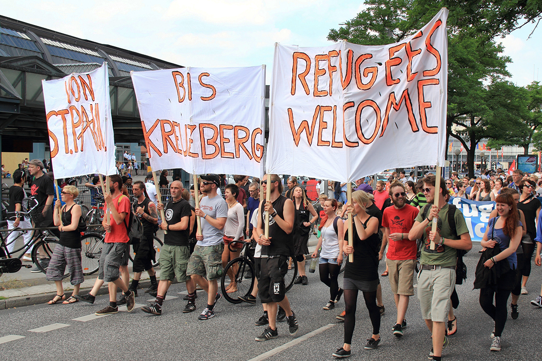 pro-refugee demonstration, Hamburg