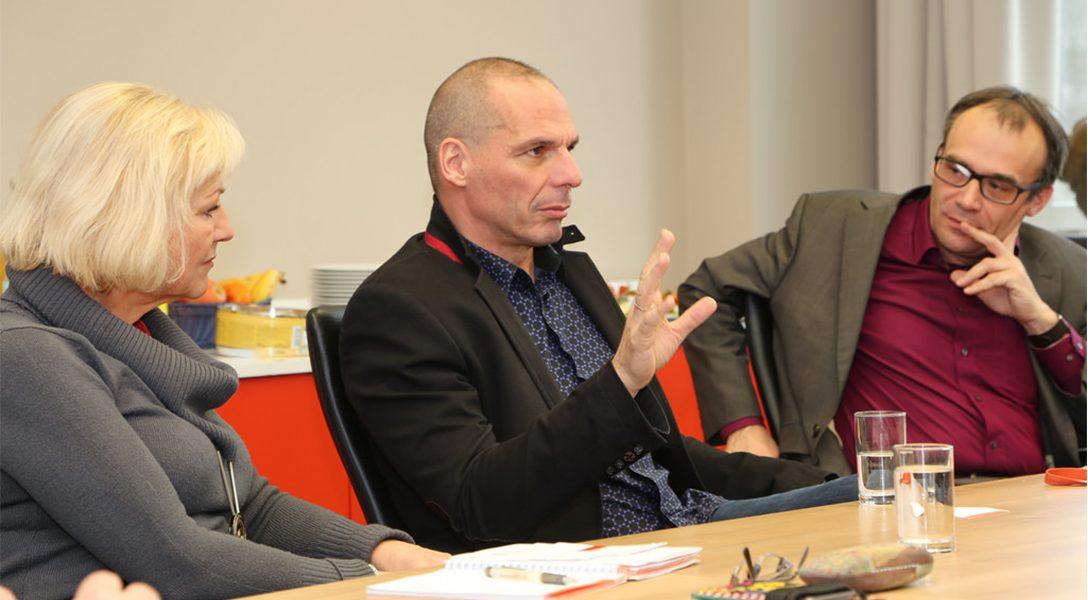 Dagmar Enkelmann, Yanis Varoufakis, Florian Weis in 2016