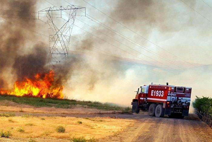 fire, grass, power lines, truck