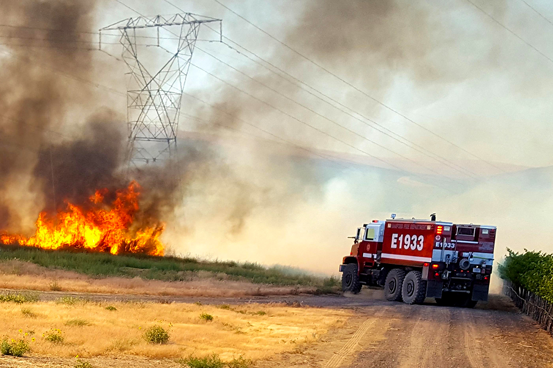 fire, grass, power lines, truck