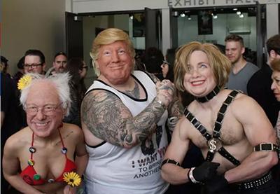 Bernie, Trump, Hillary, costume