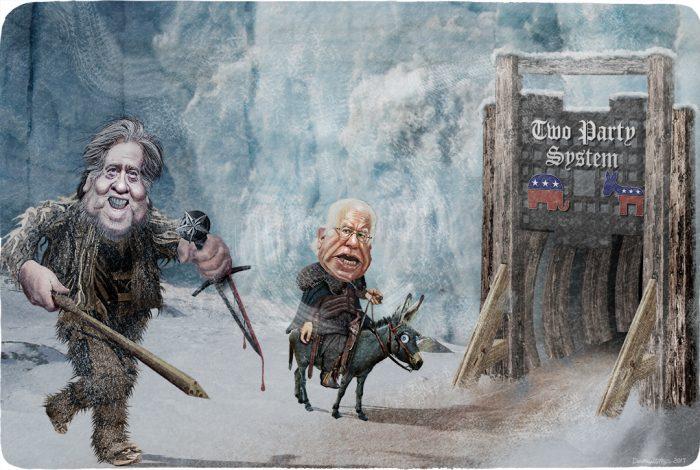 Steve Bannon, Bernie Sanders, gate, wall