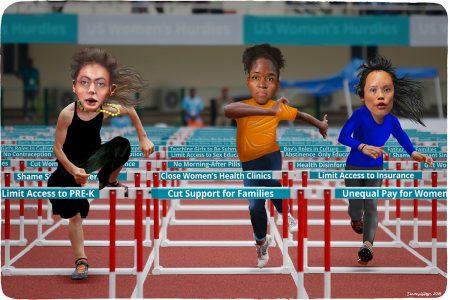 woman, hurdles, Roe v. Wade