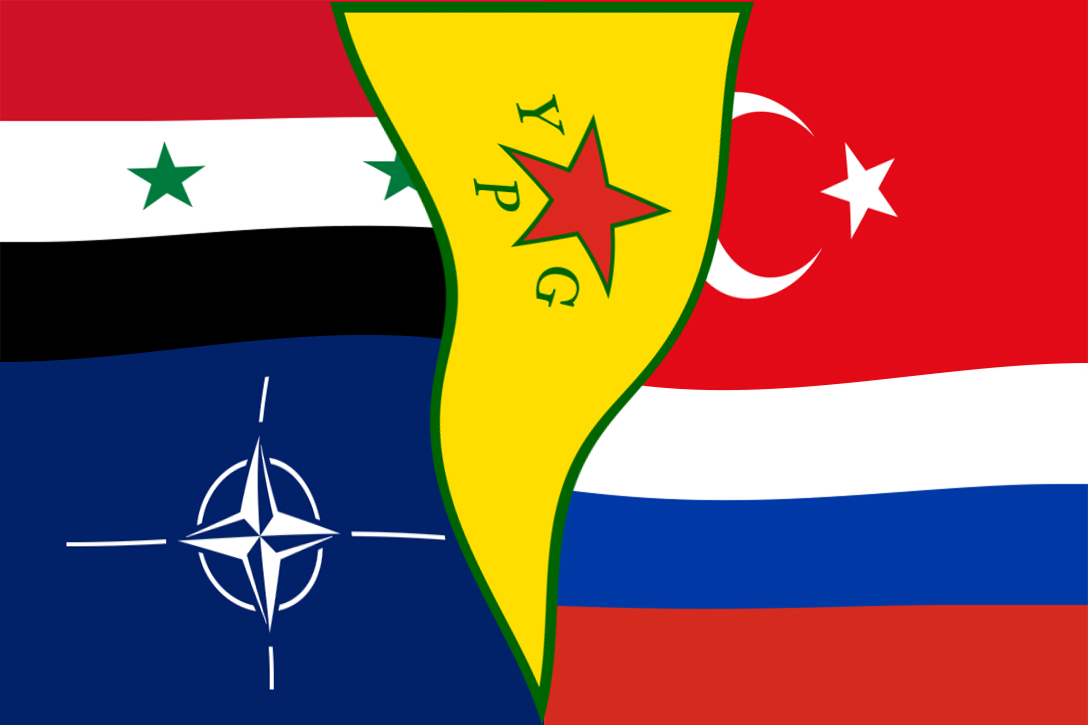 Flags, Russia, Syria, Turkey, NATO, YPG