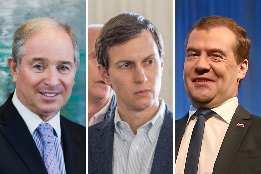 Stephen A. Schwarzman, Jared Kushner, Dmitry Medvedev