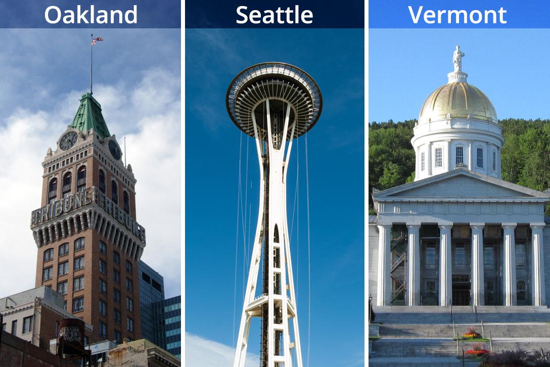 Oakland, Seattle, Vermont