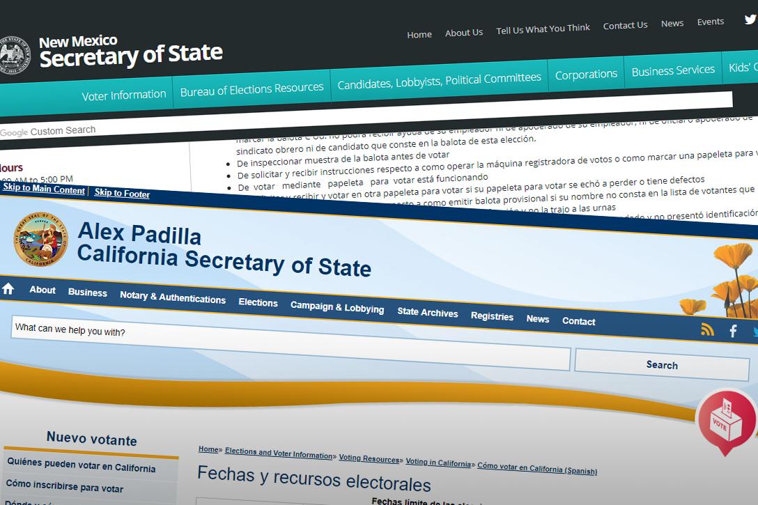 Spanish language voter information, New Mexico, California