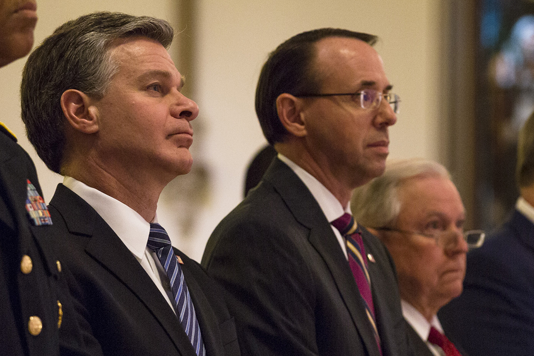 Christopher Wray, Rod Rosenstein, Jeff Sessions