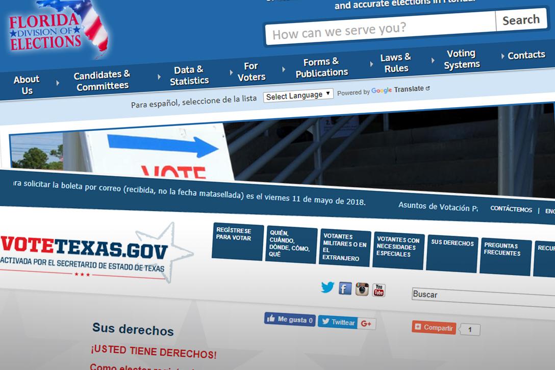Spanish language voter information, Texas, Florida