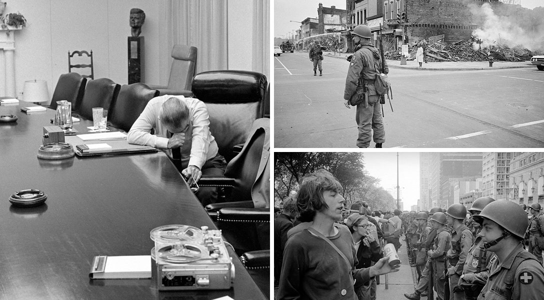 Lyndon Johnson, MLK assassination riots, Democratic Convention, Chicago, 1968