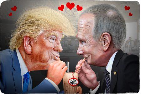 Donald Trump, Vladimir Putin, sharing shake