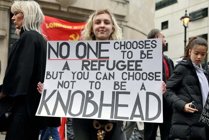protest, knobhead, refugee