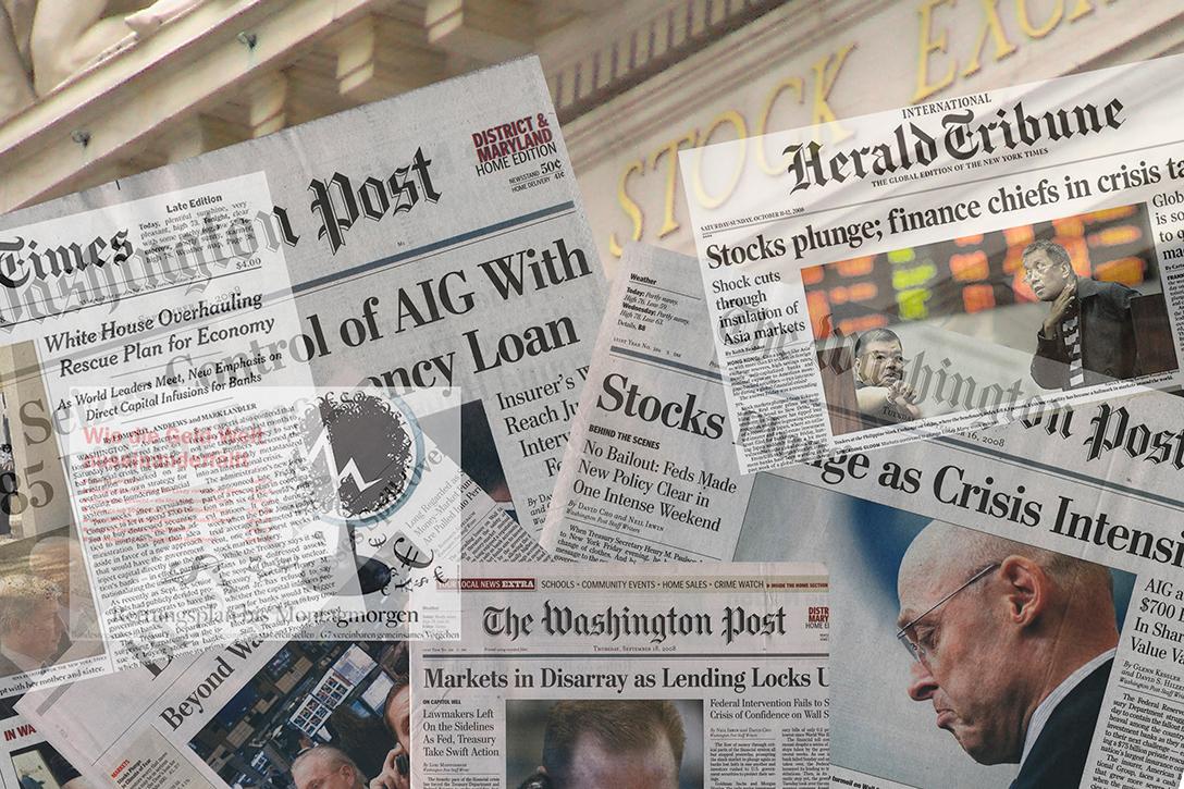 Newspapers, Stock Exchange, 2008, crash