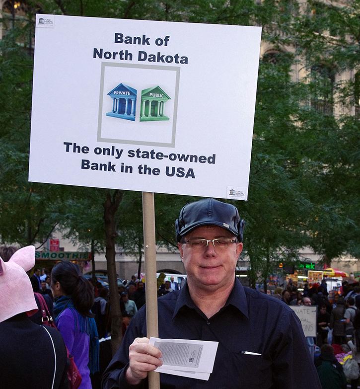 sign, Bank of North Dakota, Occupy Wall Street