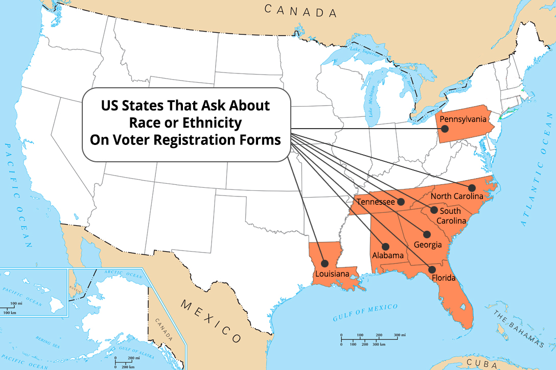 US states, race, ethnicity, voter, registration, forms