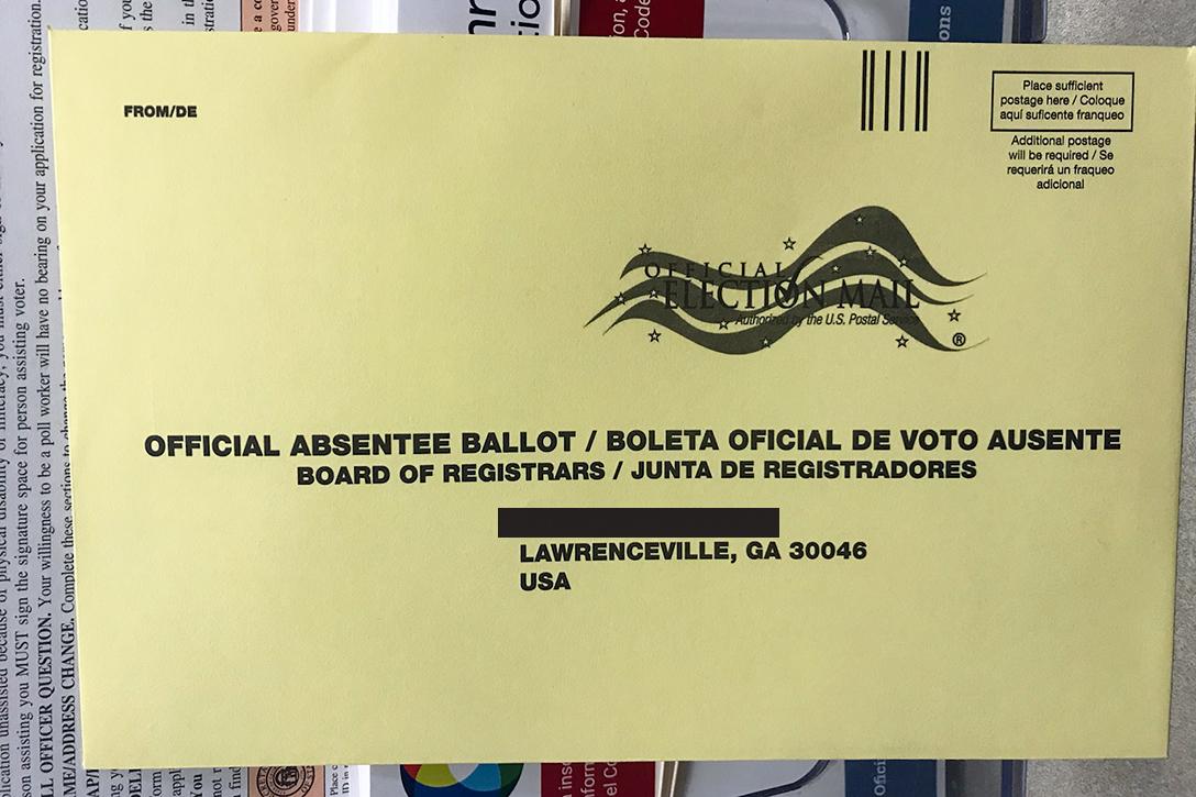 Georgia absentee ballot envelope
