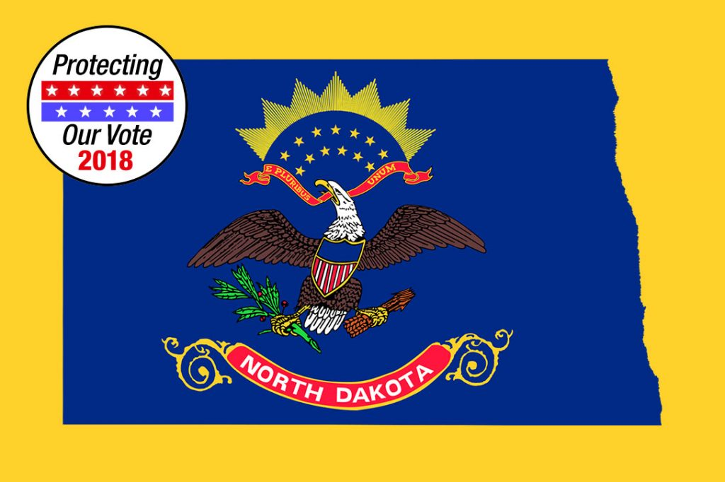 North Dakota Flag and State Line