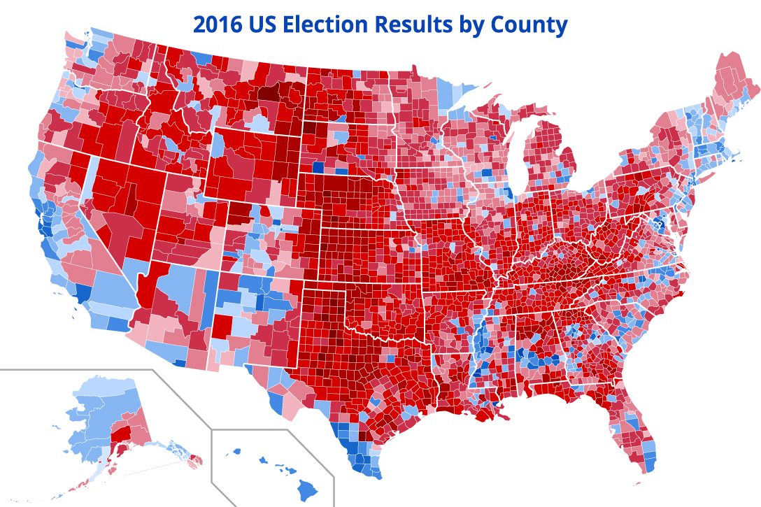 US 2016 presidential election results by county
