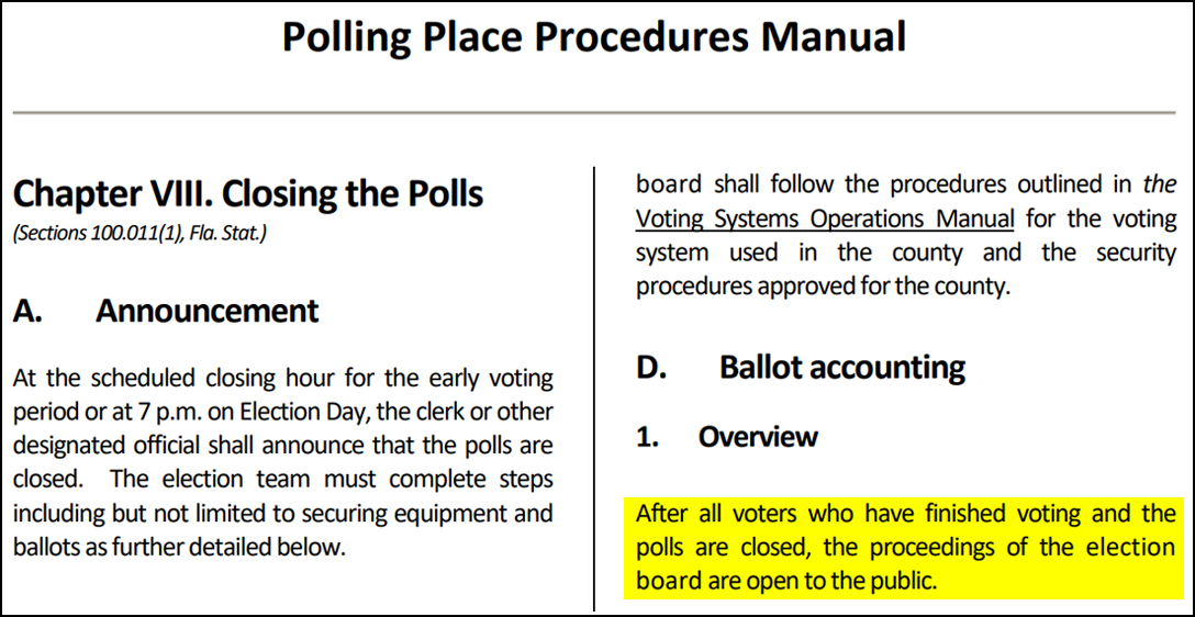 Florida, Polling Place Manual