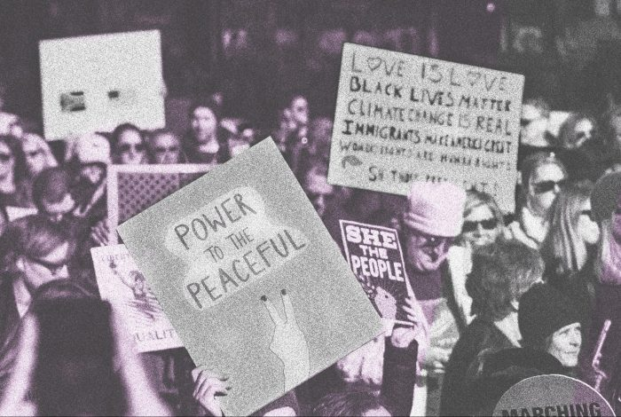 Protesting signs, NYC, March