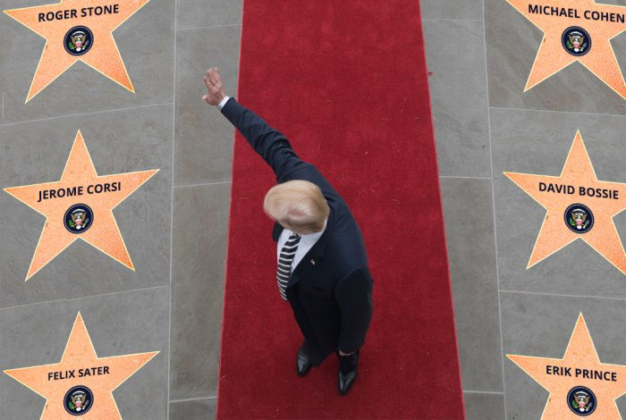 Donald Trump, Jerome Corsi, Felix Sater, Michael Cohen, David Bossie, Erik Prince.