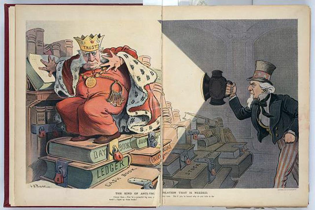 Antitrust, cartoon, J.S. Pughe