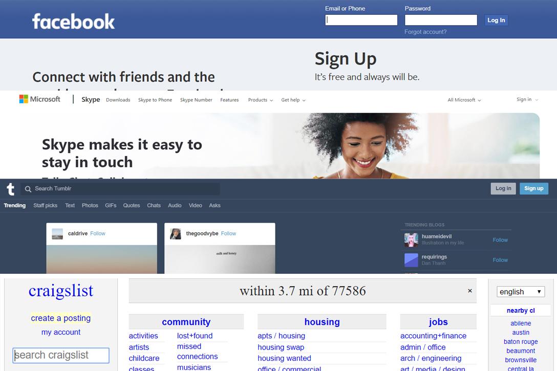 Facebook.com, Microsoft.com, Tumblr.com, Craigslist.com