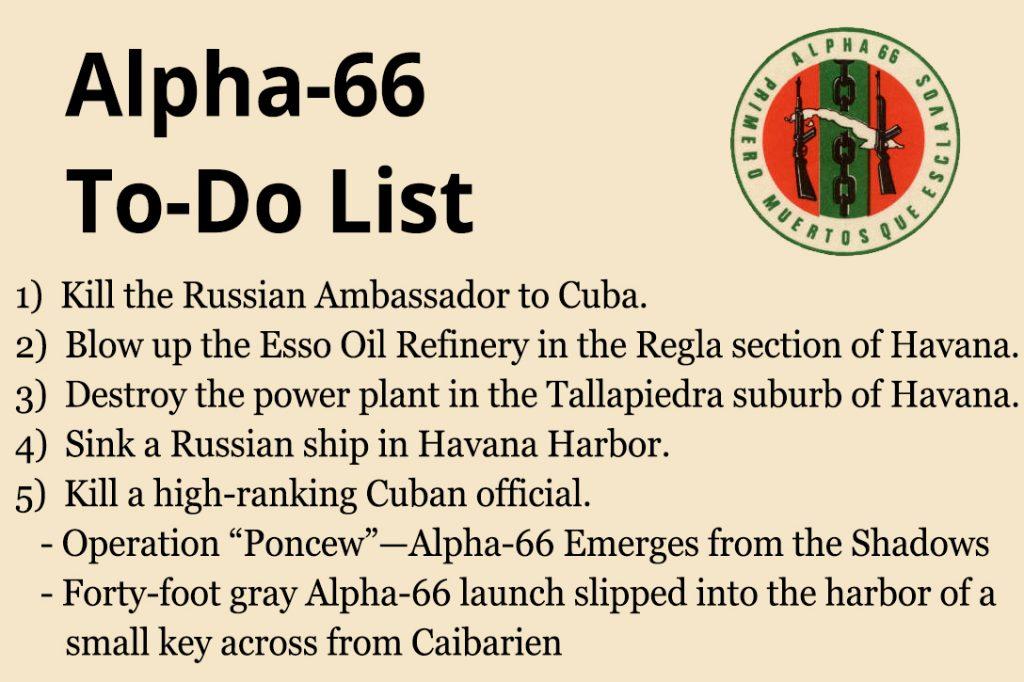 Alpha-66, To-Do list