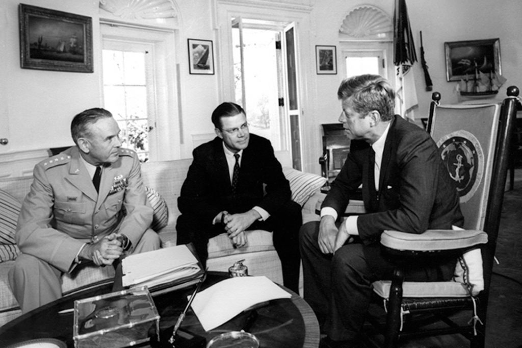Maxwell Taylor, Robert McNamara, John F. Kennedy