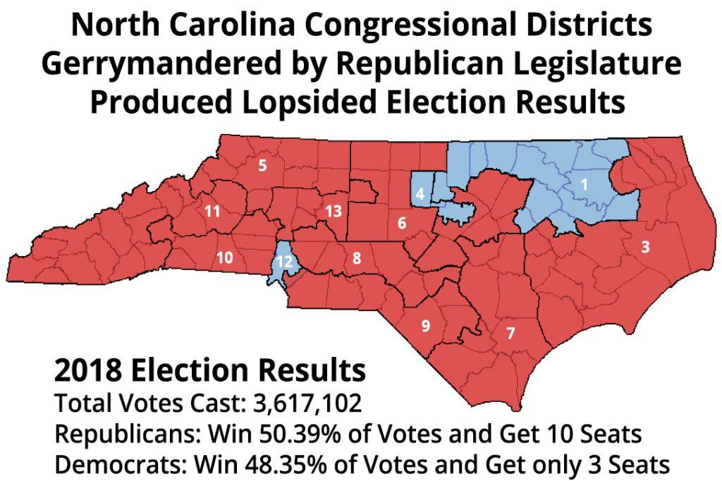 North Carolina, gerrymandering, map