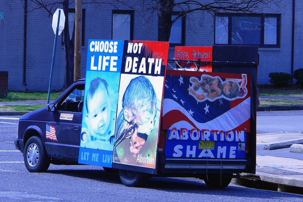 Anti-abortion signs on van