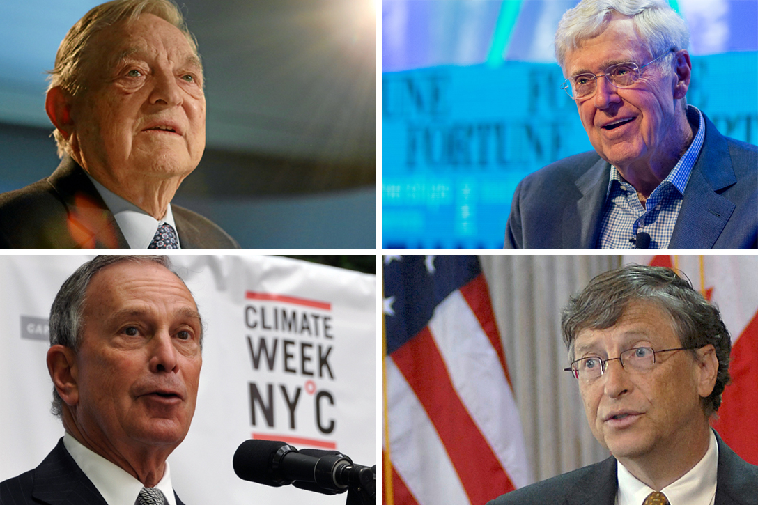 George Soros, Charles Koch, Michael Bloomberg, Bill Gates