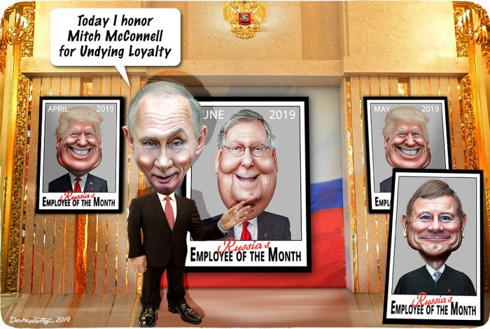 Vladimir Putin, Donald Trump, Mitch McConnell, John Roberts