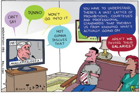 Ted Rall, cartoon, Robert Mueller, testimony