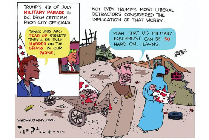 Ted Rall, cartoon, Trump, parade, lawn
