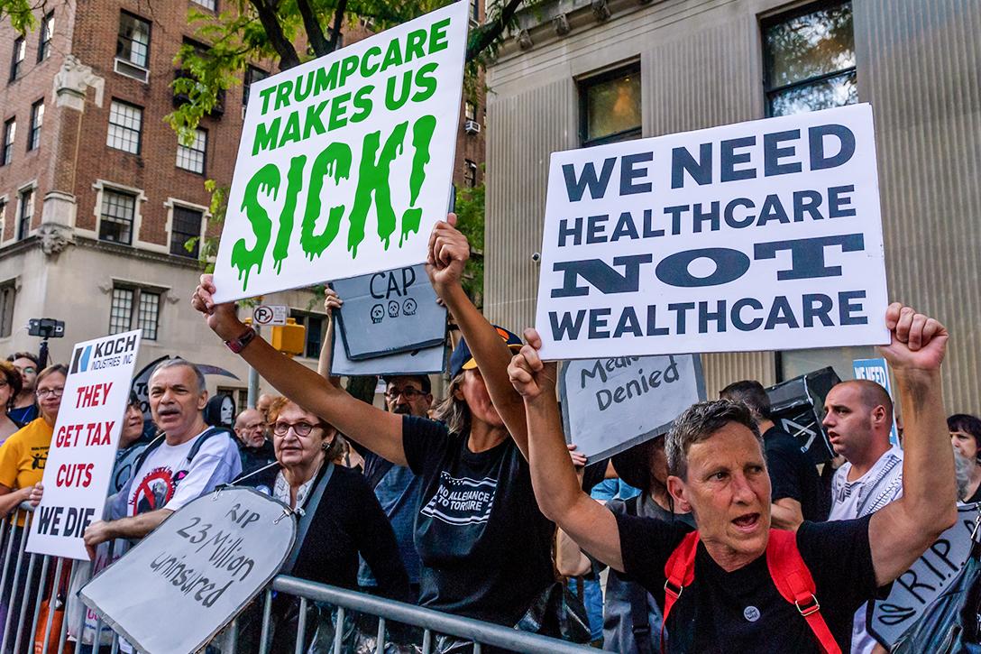 Trump care, protest